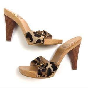 Stuart Weitzman Beige Leopard Print Heeled Sandals